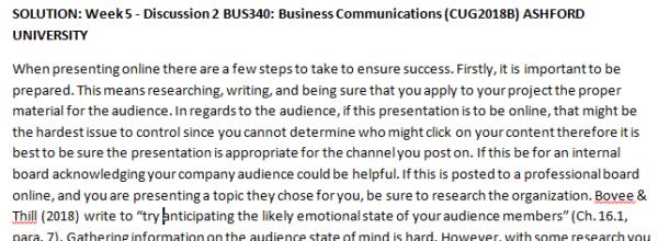 Week 5 - Discussion 2 BUS340: Business Communications (CUG2018B) ASHFORD UNIVERSITY