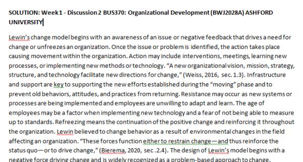 Week 1 - Discussion 2 BUS370: Organizational Development (BWJ2028A) ASHFORD UNIVERSITY