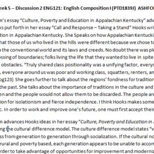 Week 5 – Discussion 2 ENG121: English Composition I (PTD1839J) ASHFORD UNIVERSITY