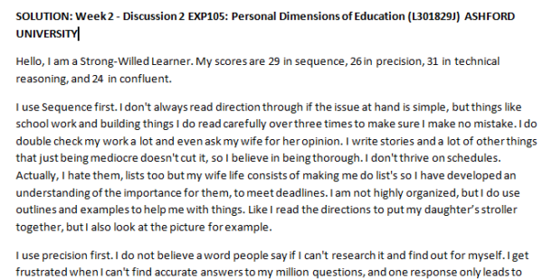 Week 2 - Discussion 2 EXP105: Personal Dimensions of Education (L301829J) ASHFORD UNIVERSITY