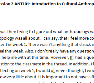 SOLUTION: Week 3 - Discussion 2 ANT101: Introduction to Cultural Anthropology (GSF1946A) ASHFORD UNIVERSITY