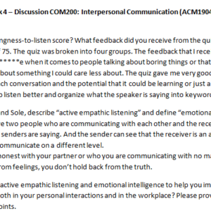 Week 4 – Discussion COM200: Interpersonal Communication (ACM1904C) ASHFORD UNIVERSITY