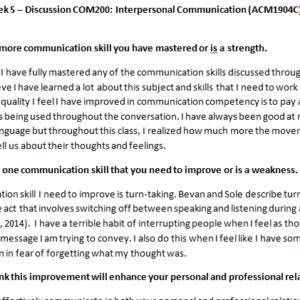 Week 5 – Discussion COM200: Interpersonal Communication (ACM1904C) ASHFORD UNIVERSITY