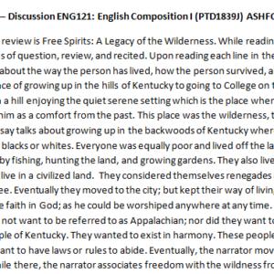 Week 1 – Discussion ENG121: English Composition I (PTD1839J) ASHFORD UNIVERSITY