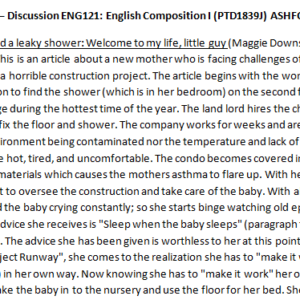 Week 2 – Discussion ENG121: English Composition I (PTD1839J) ASHFORD UNIVERSITY