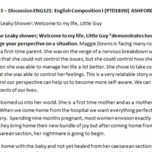 Week 3 – Discussion ENG121: English Composition I (PTD1839J) ASHFORD UNIVERSITY