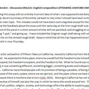 Week 4 – Discussion ENG121: English Composition I (PTD1839J) ASHFORD UNIVERSITY