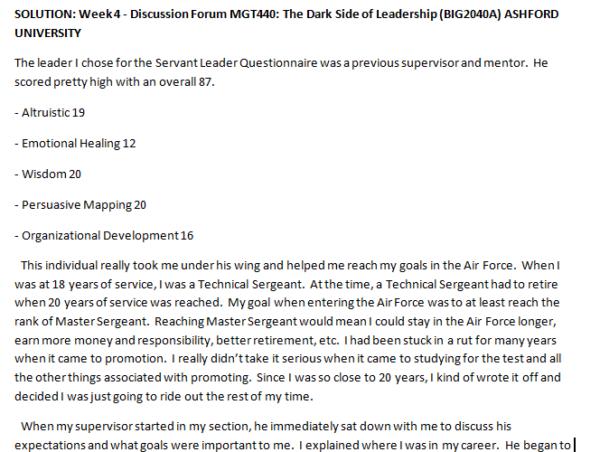 SOLUTION: Week 4 - Discussion Forum MGT440: The Dark Side of Leadership (BIG2040A) ASHFORD UNIVERSITY