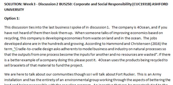 SOLUTION: Week 3 - Discussion 2 BUS250: Corporate and Social Responsibility (CUC1931B) ASHFORD UNIVERSITY