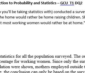 ((SOLVED)) PSY-380 Introduction to Probability and Statistics – GCU T1 DQ2