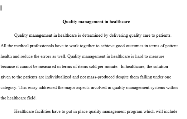 research paper healthcare quality management