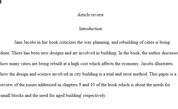 Article review Jane Jacobs
