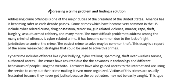 addressing a crime problem and finding a solution