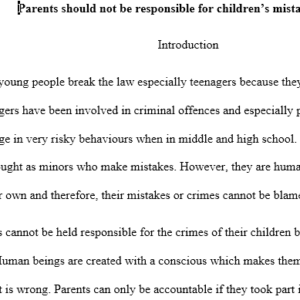 Should parents be held responsible for the crimes of their children?