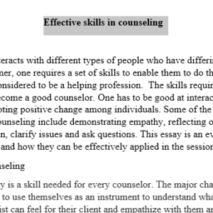 effective skills in counselling