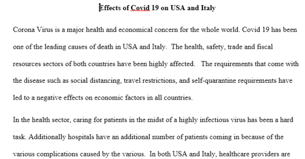 Effects of Covid 19 on USA and Italy