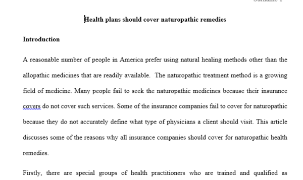 healthcare plans should cover Naturopathic remedies