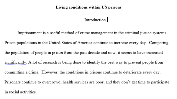living conditions in the US prisons
