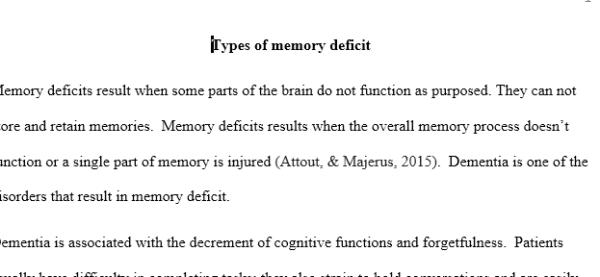 memory deficit essay
