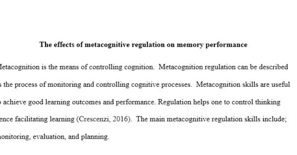 metacognitive regulation