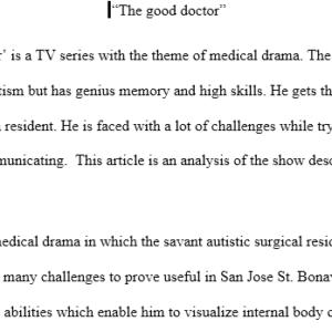 movie analysis- The good doctor