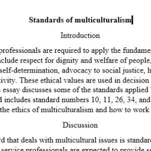 multiculturalism standards.