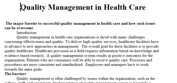 quality management in healthcare