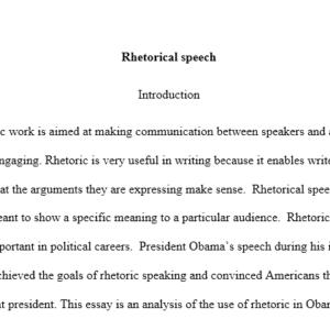 rhetorical speech by president Obama