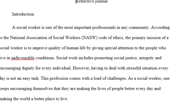 social work reflective journal